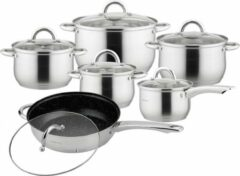 Zilveren Kinghoff 4457 pannenset – 12 delig – RVS – Alle warmtebronnen