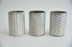 Teeninga Palmen Kerst Sfeerlichten - Waxineglas Cilinder 3 Keuzemogelijkheden 10x10x15cm White Silver