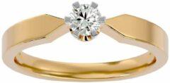 Aelra Joaillerie AELRA 14K geel gouden modieuze damesring 0,10 ct natuurlijke ronde diamant