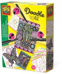 SES Creative Doodle Art Inkleur-Kaarten 12 Stuks + 3 Zwarte Stiften