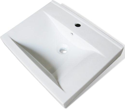 Wasbak Wit Rechthoekig.Witte Vidaxl Luxe Keramische Rechthoekige Wasbak Met Kraangat 60 X 46 Cm Wit