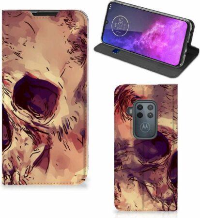 Afbeelding van Oranje B2Ctelecom Motorola One Zoom Mobiel BookCase Skullhead