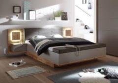 Bett 180 x 200 cm mit Bettkasten Wildeiche/ Basaltgrau mit Abs. Hirnholz PolPower Capri