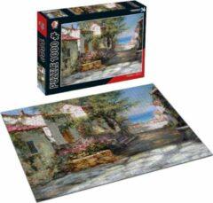 White Rhinoceros Jigsaw Legpuzzel 'Pink Rooftops' 1000 Stukjes Volwassenen Legpuzzels - Met Extra Voorbeeldposter - Museum Puzzel - Natuur - Dieren - Stad - Kunst - Hobby Speelgoed - Legpuzzels Volwassenen Kinderen - 50*70 cm - Vaderdag Kados