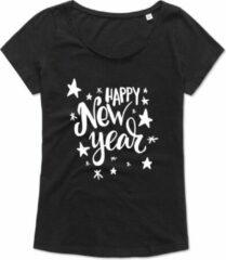 ByKemme Ladies T Shirt - Dames Shirt - Workout T-Shirt -Casual T-Shirt - Lifestyle T-Shirt - Jaarwisseling - Happy New Year - Zwart - L