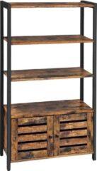 VASAGLE Boekenkast, ladenkast, industriële design boekenkast met 3 planken, 2 lamellen deuren, woonkamer, studeerkamer, slaapkamer, 70 x 30 x 121,5 cm, vintage, donkerbruine