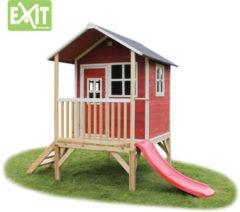Rode EXIT Loft 300 Speelhuisje met glijbaan laag