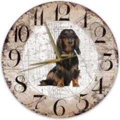 Bruine Creatief Art Houten Klok - 30cm - Hond - Teckel langharig