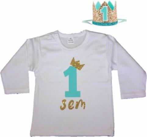 Afbeelding van Dottig.com Jongensshirt, eigen naam, haarkroon, mint/goud, 1 jaar