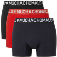 Muchachomalo Basiscollectie Light cotton Heren Boxershort - 3 pack - Zwart/Rood/Donkerblauw - Maat S