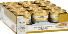 Gouden Gourmet gold luxe mix zeevis in saus met spinazie 85 GR