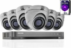 HIKVISION 5 MP CCTV-beveiligingssysteem 4K DVR 8CH 2 TB H.265 + HIK 5 MP 2,8 mm 6X camera's, outdoor, nachtzichtapparaat, uitrusting, DS-7208HUHI-K1 DS-2CE56H1T-ITM