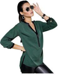 Groene Creation L blouse met lange mouwen