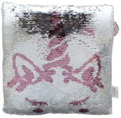 Basic Eenhoorn Kussen met Pailletten 30x30 cm Wit/Roze/Zilver
