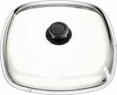 Roestvrijstalen Eurolux by Solinger Eurolux glazen deksel met knop 26 x 26 cm