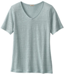 Enna Linnen T-shirt met V-hals, gletsjer 40/42