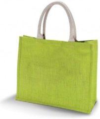 Kimood Jute lime groene shopper/boodschappen tas 42 cm - Stevige boodschappentassen/shopper bag