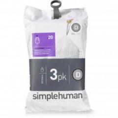 Witte Simplehuman code D 20 liter Pocket Liners vuilniszakken - set van 3x20 Stuks