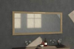 Grijze Saniclass Natural Wood spiegel 160x70x1.8cm rechthoek vingerlas zonder verlichting Grey Oak 30096