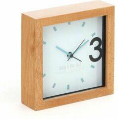 Bruine Platinet PZAPR tafelklok / bureauklok April met houten frame