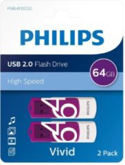 Paarse Philips USB 2.0 64GB Vivid Edition Purple 2-pack