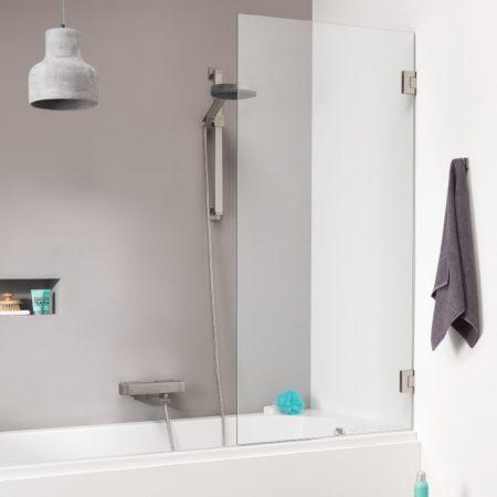 Afbeelding van Get Wet by Sealskin I AM badwand 1 delig 750 breed 1600 hoog Chroom zilver hoogglans helder~ glas met antikalk SK010755335100