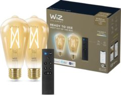 WiZ Connected Duopack Edison - E27 - Goud 60W - Koel tot Warmwit Licht - Afstandsbediening