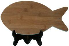 Naturelkleurige Bamdura tableware Bamboe Snijplank 'Vis'
