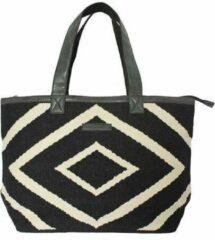 Zwarte Indigo Mae leuke grote XL strandtas met rits | shopper | biologisch katoen | handgemaakt | vegan leer
