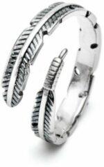 Zentana Veer Ring Antiek Zilver Retro - 925 Sterling Zilver - Vrijheid