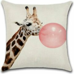 Roze By Javy Animal Party - Giraffe met Ballon - Kussenhoes - 45x45 cm - Sierkussen - Kussen
