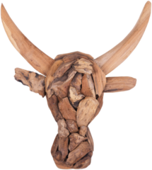 Beliani Wand-decoratie licht-bruin teak-hout BULL HEAD