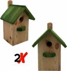 Garden Spirit - Set van 2 Vogelhuisje Boswachtershuisje - Nestkast met 7-delig Vogelvoer - Groen