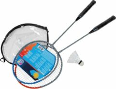 Happy People badmintonset 65 cm grijs/oranje 4-delig