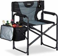 Grijze Relaxdays Campingstoel - regiestoel - strandstoel - opvouwbaar - koeltas - visstoel