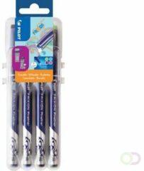 Viltstift Pilot Frixion Fineliner punt 1,3 mm - fijn schrift - etui met assortiment van 4 fun kleuren