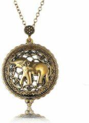 Zoëies® olifant ketting goudkleurig met vergrootglas