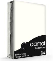 Creme witte Damai - Hoeslaken (tot 25 cm) - Double Jersey - 140 x 200/210/220 - 150 x 200 cm - Cream