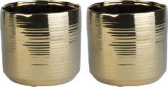 Goudkleurige Cosy @ Home 2x Gouden ronde plantenpotten/bloempotten Cerchio 16,5 cm keramiek - Plantenpot/bloempot metallic goud - Woonaccessoires