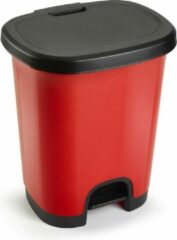 Forte Plastics Kunststof afvalemmers/vuilnisemmers/pedaalemmers in het rood/zwart van 27 liter met deksel en pedaal. 38 x 32 x 45 cm.
