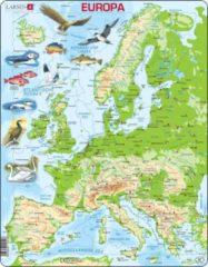 Larsen Puzzel Maxi Kaart - Europa Geografisch met Dieren - 87 stukjes
