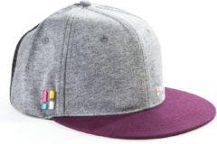Bordeauxrode Poederbaas snapback/cap met embleem One Size - grijs/rood, pet, festival cap, festival accessoire, zomerpet