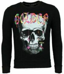 Enos Trui Heren - Doodskop Sweater Mannen - Golden Skull - Zwart Sweaters / Crewnecks Heren Sweater Maat XS