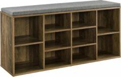 [en.casa] Schoenenkast met zitkussen grijs en hout