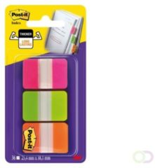 Post-it Index Strong, , ft 25,4 x 38 mm, blister met 3 kleuren (roze, groen en oranje), 12 tabs per kleur