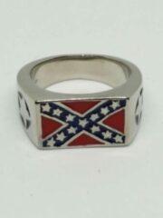 Rode RH-Jewelry. Stalen heren ring. Rebellenvlag maat 20