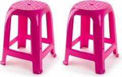 Forte Plastics 2x stuks opstap krukje/keukenkrukje/verhoger opstapjes fuchsia roze 37 x 37 x 46,5 cm - Keuken/badkamer/kasten opstapjes of krukjes/zitjes
