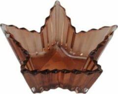 Redhart Theelichthouder JOZEF - Bruin - Glas - Ster - 13 x 8.5 x 3.5 cm