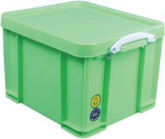 Really Useful Box opbergdoos 35 liter, neon groen met witte handvaten