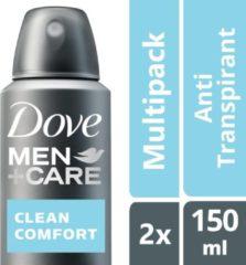 Dove Men+Care Clean Comfort - 2 x 150 ml - Deodorant Spray - Voordeelverpakking